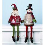 Plush País Papá Noel y muñeco de nieve Shelf Sitter Juego de 2