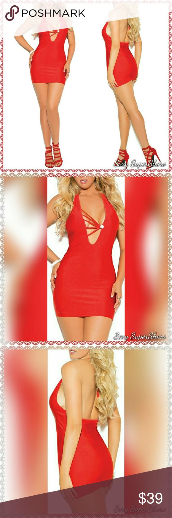 🆕 PLUS Valentines Hottie Sexy Red Mini Dress Truly turn heads in this attention-grabbing, curve-hugging stretch satin halter neck mini dress with rhinestone jewel at strappy bodice.  Size(s): 1X, 2X, 3X( see size chart pic above, also available in S,M,L, see other lisitng)  Color(s): Red  Material(s): 95% Polyester, 5% Spandex  💰 Bundle & Save 💨📦 Ships in 1-2 Business Days Sexy SuperShero Dresses Mini