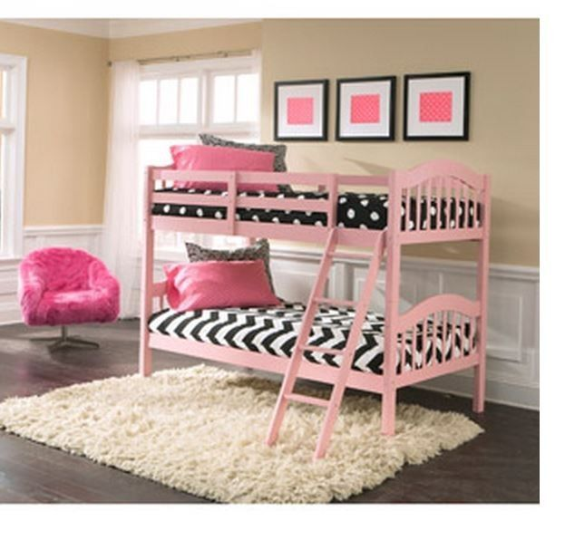 Girls Bunk Beds Pink Twin Bed Kids Children Teen Youth