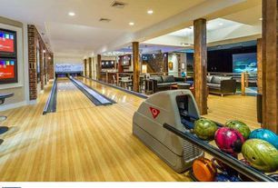 Contemporary Game Room with Columns, interior brick, Hardwood floors, Bowling alley, Pendant Light