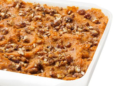 Healthy Sweet Potato Casserole with honey, egg, spices, topped with brown sugar sweetened pecans. | Recipe courtesy Ellie Krieger for Food Network Magazine