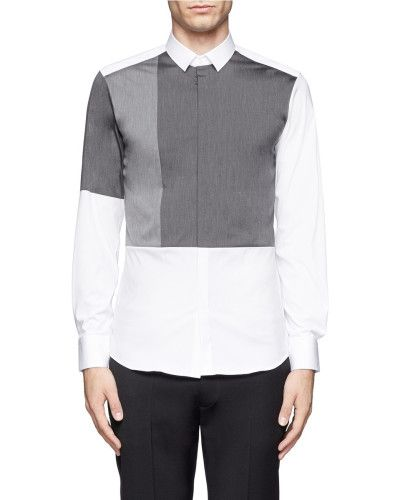 Neil Barrett | White Contrast Panel Stretch Cotton Shirt for Men | Lyst