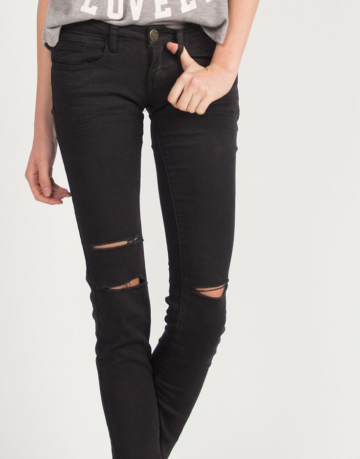 Knee Slit Skinny Jeans – 2020AVE