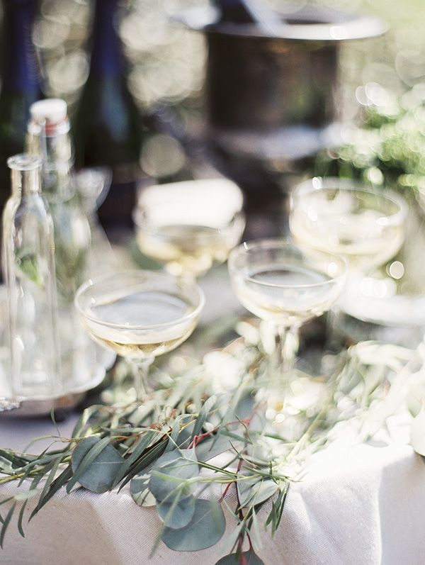 Champagne Bar with Vintage Coupes | Krista A. Jones Fine Art Photography | Artistic French Blue Wedding