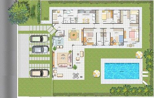 Plantas de casas com 3 quartos com piscina plantas de for Plano piscina