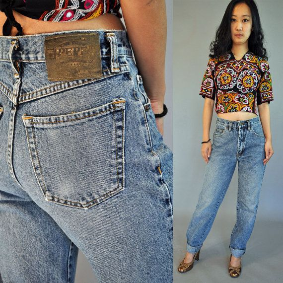 vintage 80s high waisted jeans / Acid Wash by rockstreetvintage, $52.00