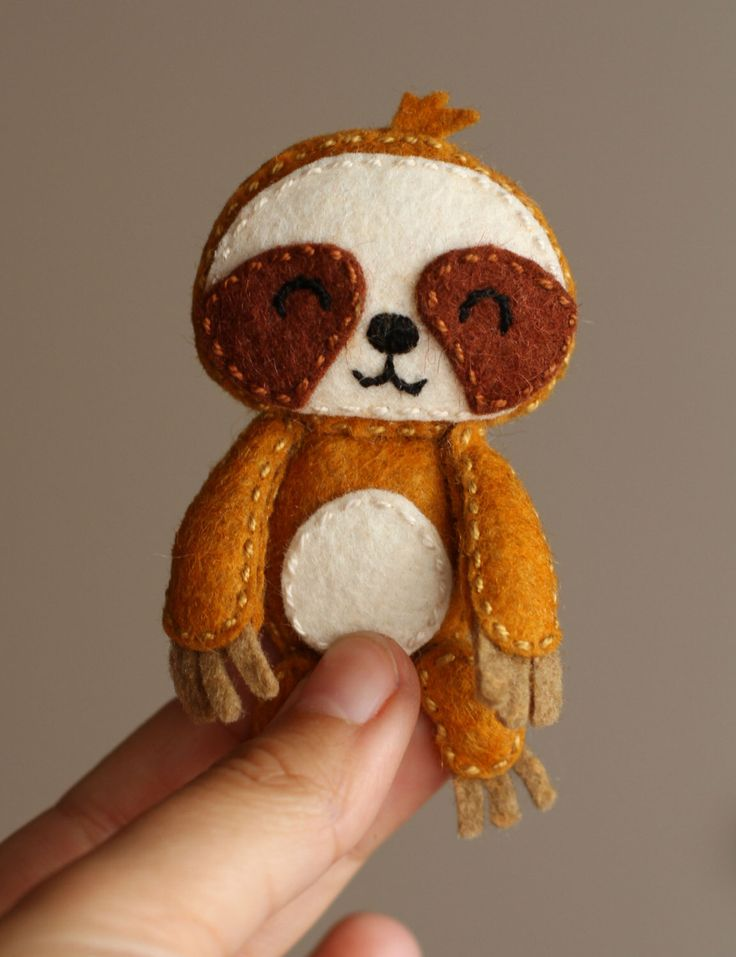 Felt Pocket Sloth doll brooch by PoCatFactory on Etsy https://www.etsy.com/listing/207355390/felt-pocket-sloth-doll-brooch
