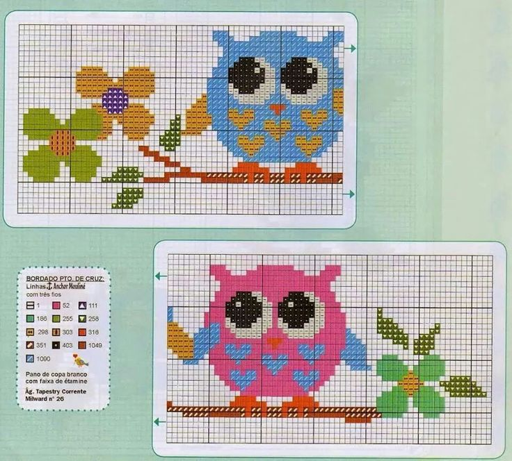 Baykuş kanavice # Owl crossstitch patterns