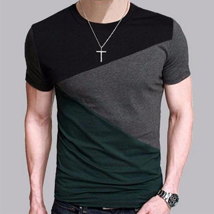Camiseta de la Marca 2016 Hombres Camiseta de Manga Corta O-cuello de Los Hombres T-Shirt hip-hop Simple empalme Tee Tops Camisa Homme Camisetas 3XL DUNVSIM