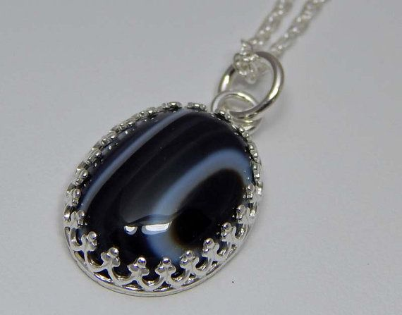 Black and White Onyx Necklace. Black and White by PebblesnPaint