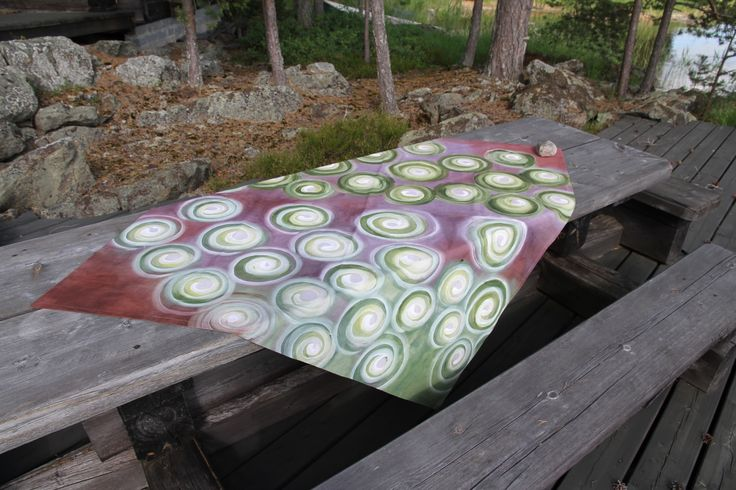 Tree rings, hand painted tablecloth, 140 x 140 cm
