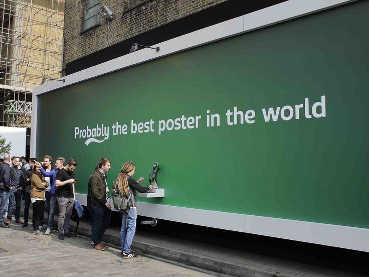 If you were walking down London's Brick Lane on Wednesday lunchtime, you would have seen a queue of people standing by a billboard: this billboard was dispensing beer to passers-by.