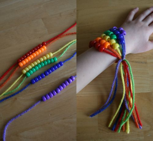 St. Patricks Day Craft:  Rainbow Friendship Bracelets