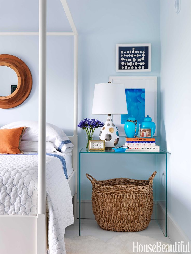 Designer Robert Passal mixed Benjamin Moore colors to concoct his own soothing blue for the master bedroom in his Miami Beach apartment.