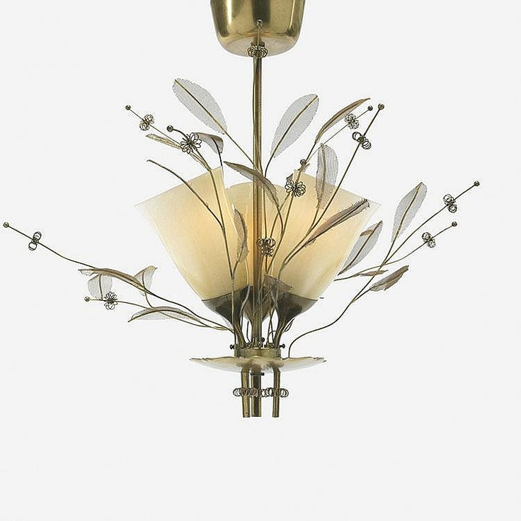 Paavo Tynell chandelier  Taito OY  Finland, c. 1950  brass, glass  14 dia x 19 h inches  Signed with stamped manufacturer's mark to fixture: [OY Taito TT Made in Finland 9029]. Signed with applied distributor's label to ceiling mount: [Finnish American Trading Corporation New York].