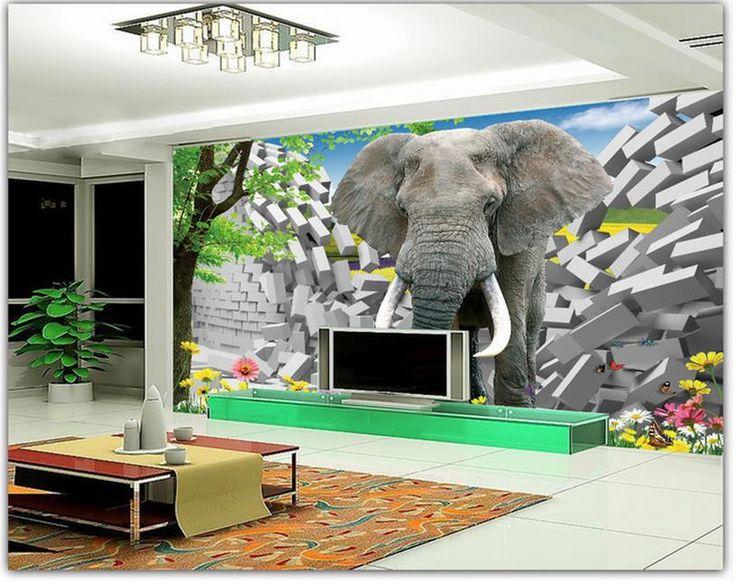 Дешевое Бесплатная доставка современные стены 3D фрески обои, HD слон сломал стены 3D росписи для тв диван фоне стены papel де parede, Купить Качество Обои непосредственно из китайских фирмах-поставщиках:                                                     Примечание: