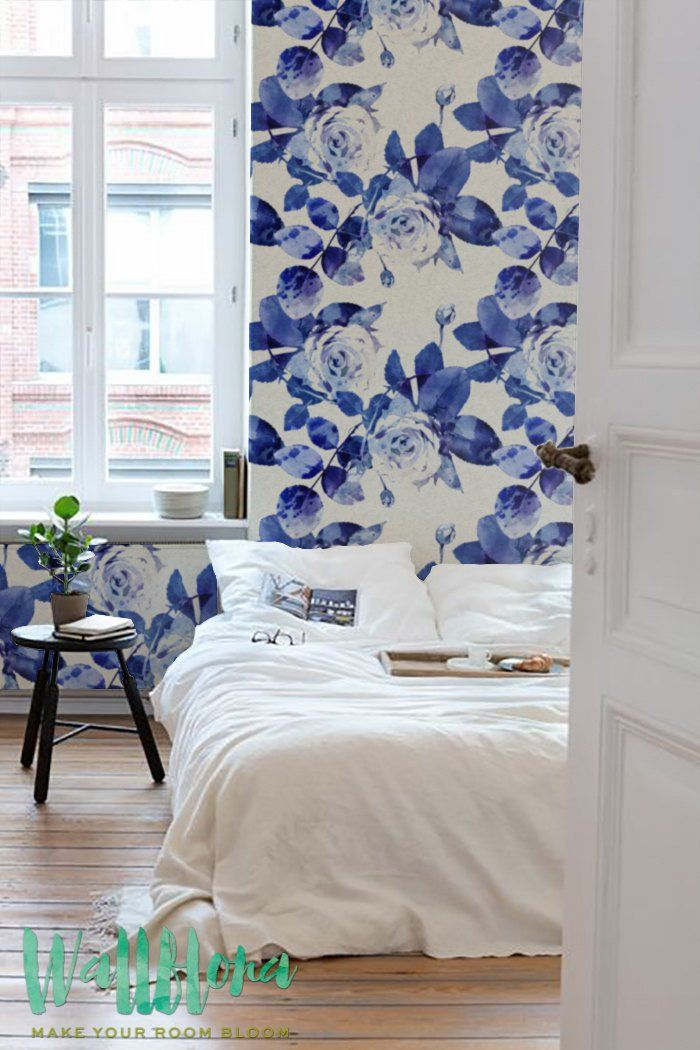 Transform any room in your home into a rose paradise with this self-adhesive vinyl BLUE WATERCOLOR ROSE SILHOUETTE pattern removable wallpaper!