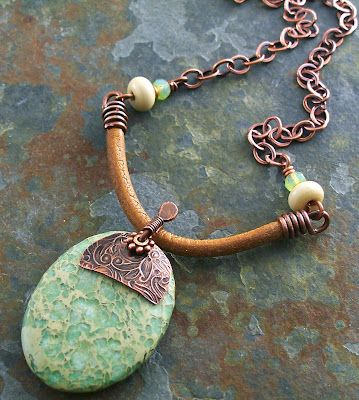 Stones, Leather, Copper - Love this Necklace! How to Make Cord Wire Ends for Thick Leather - The Beading Gem's Journal
