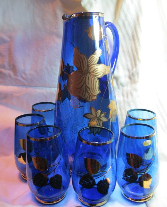 Stunning Large Vintage Bohemian Art Glass By Guttaperchavintage Pitcher And Glasses Glass