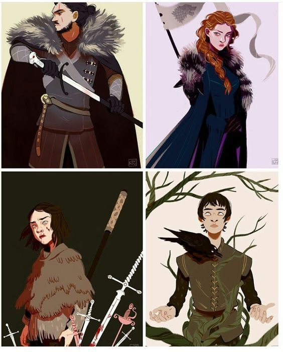 The Stark chidren: Jon, Sansa, Arya and Bran