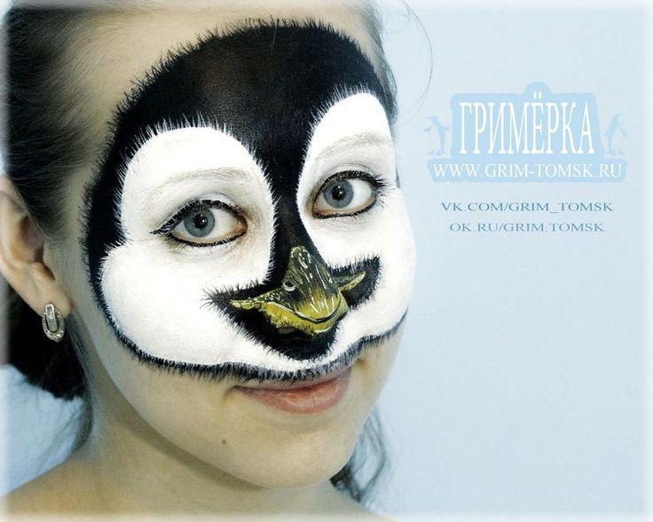 Аквагрим для детей, пингвин, зимний грим, птицы Face painting for children, a penguin, a winter make-up, birds