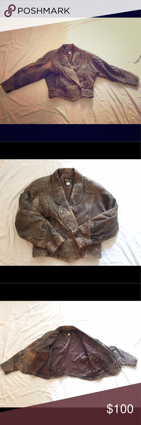 Vintage Soft Leather Bomber Jacket Beautiful brown distressed soft leather ladies vintage bomber jacket. Excellent condition. Reed Sportswear Jackets & Coats
