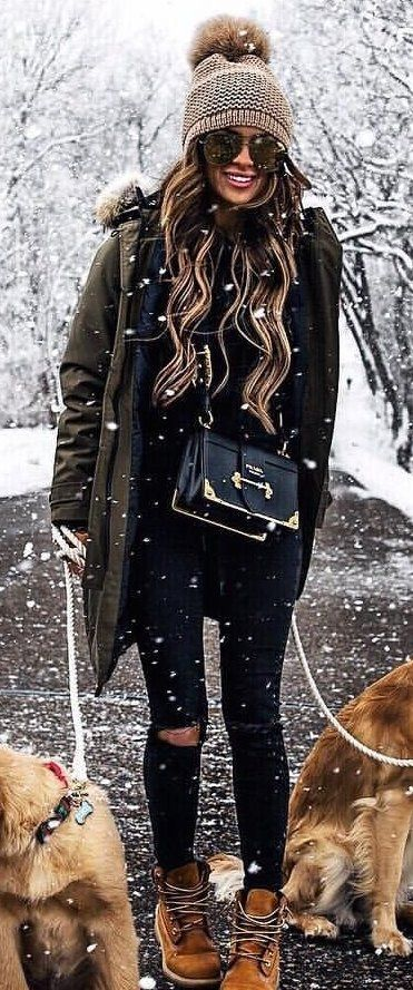 #spring #outfits woman in black parka jacket and gray knit bubble cap. Pic by @nyc_fashion_stylist_says