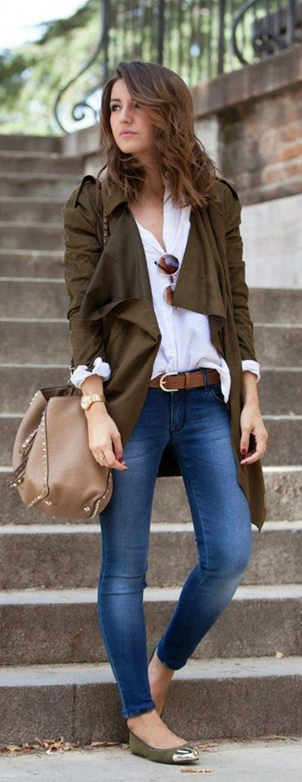 Layer an olive, waterfall draped coat over a classic button-up for a more polished look.