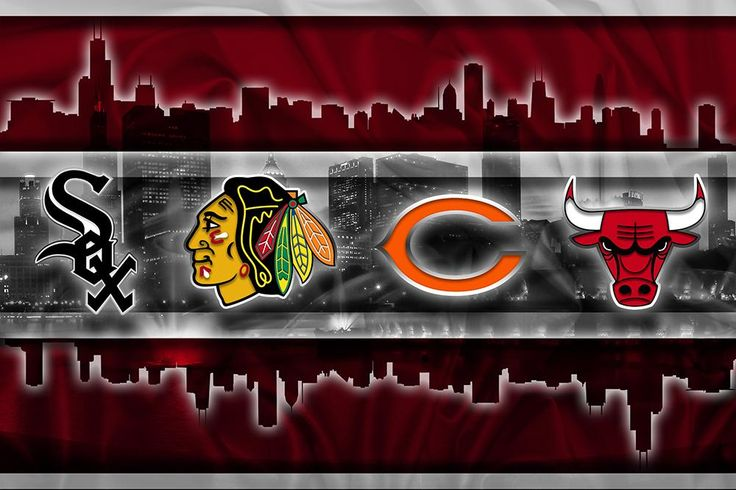 Chicago Sports Teams Poster, Chicago Cubs Chicago Bulls Chicago Blackh                      – McQDesign