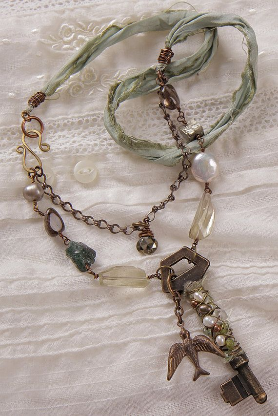 Secret Spring necklace: wire wrapped key apatite by StudioEgallery