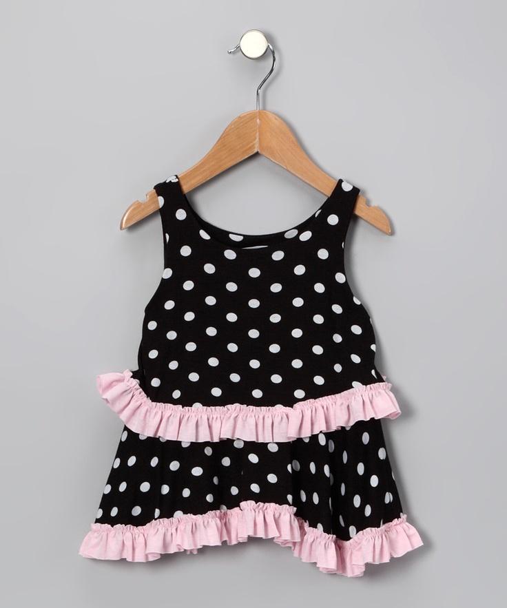 Black Polka Dot & Pink Layered Dress - Infant & Toddler