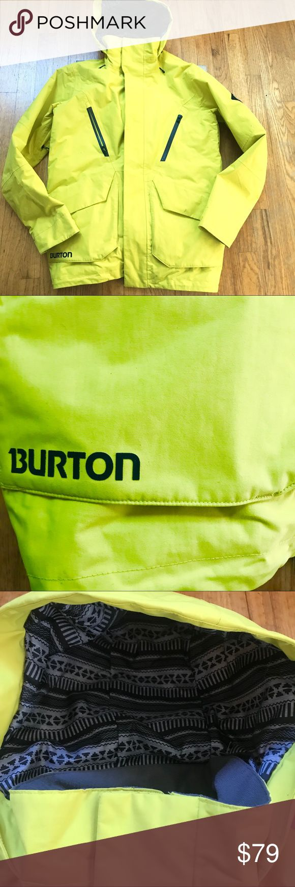 Yellow Burton Ski Snowboard snow jacket men's S Bright yellow Burton DryRide snow jacket. Men's size Small. Great condition - only worn a couple of times. A few small marks on front and cuffs (see photos) that will likely wash out. Powder skirt, clear ID pocket, lots of pockets! Burton Jackets & Coats Ski & Snowboard