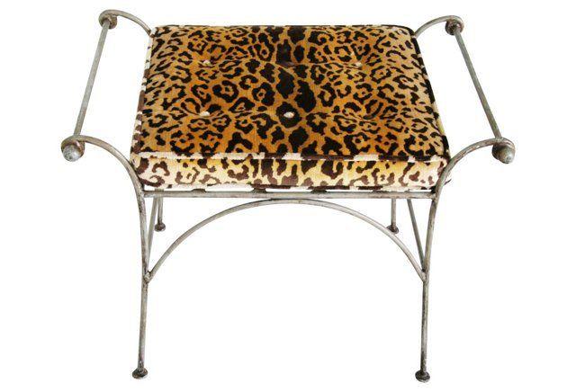 Italian    Bench w/ Scalamandré Leopardo