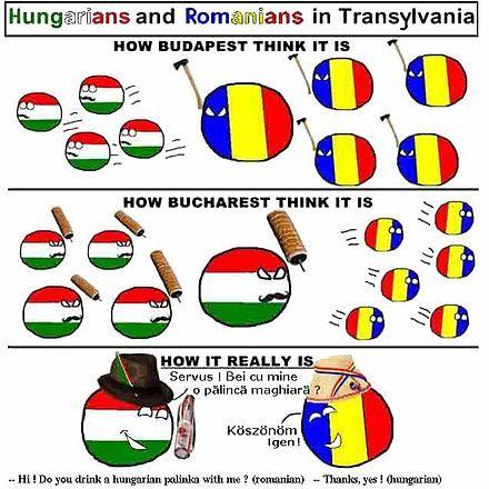 """From Wikiwand: Dessin humoristique inspiré par les élèves de 6-ème de la """"Şcoala Generală no2"""" de Brașov, pour illustrer la cohabitation des cultures en Transylvanie."""