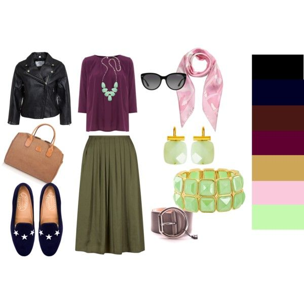 Olive Skirt + Plum Blouse by edeln on Polyvore featuring, Therapy, Cheap Monday, Stubbs & Wootton, Bric's, Kendra Scott, Catherine Canino Jewelry, Valentino and D&G