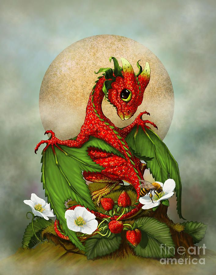 Strawberry Dragon Digital Art  - Strawberry Dragon Fine Art Print