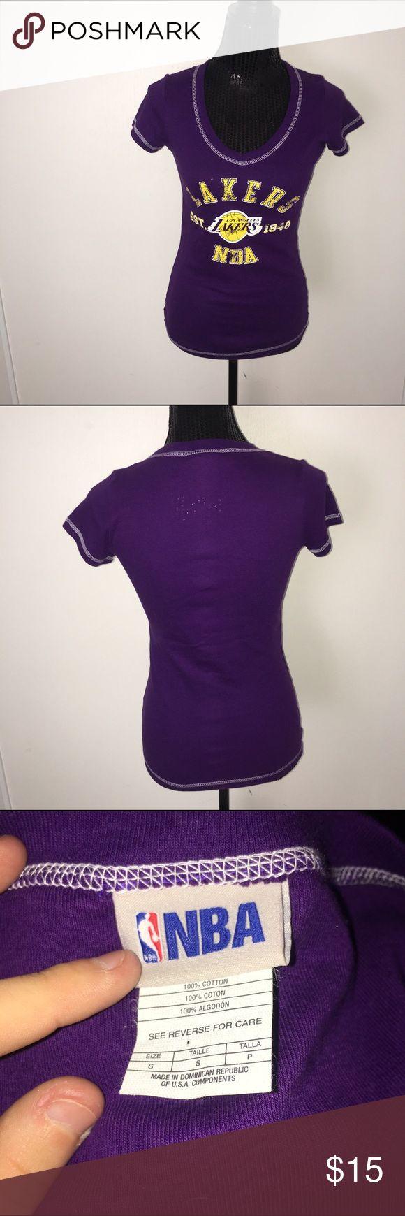 Small purple lakers shirt sleeve women's top So cute nba Tops Tees - Short Sleeve