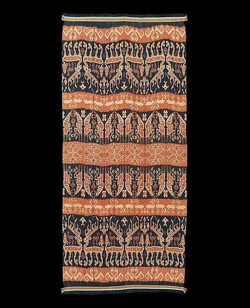 The island of Sumba in Indonesia is renowned for its technically accomplished and visually dramatic textiles. Impressive works such as this <i>hinggi</i> (man's shoulder or hip cloth) were prestige garments used as formal attire by Sumba men at important events and ceremonies