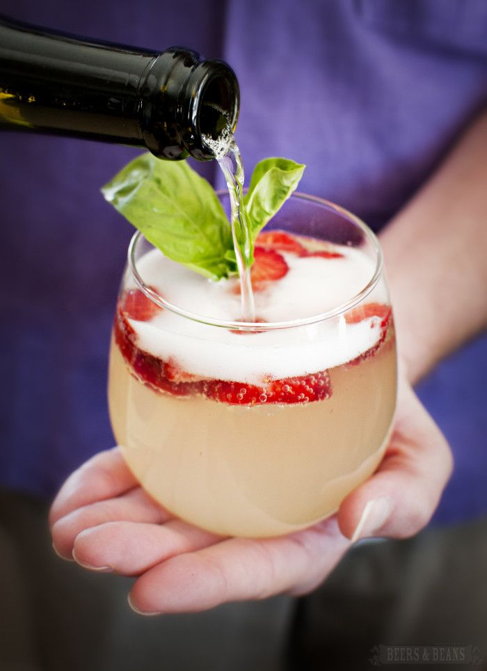 Strawberry, Lemonade, and Basil Mimosa