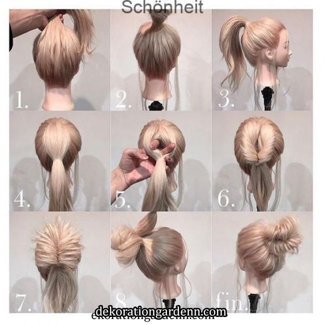 So Stylen Sie Ihr Blondes Haar In Ein Hohes Brotchen Easy Updo Hairstyles Pinterest Hair In 2020 Easy Updo Hairstyles Long Hair Styles Hair Arrange