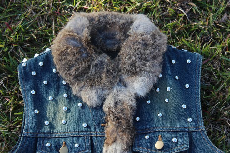 Boho Gypsy Cowgirl Denim Vest  Studs and Rabbit Fur Nomad Vagabond VestRodeo Sweetheart Size XS by IzzyRoo on Etsy