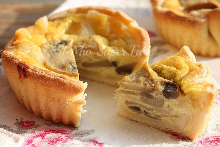 Quiche funghi e mozzarella |ricetta torta salata blog il mio saper fare
