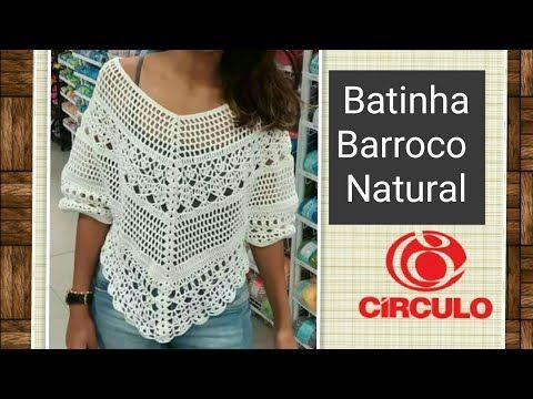 Versão canhotos:Batinha Bianca com Barroco Natural em Crochê P,M,G e GG (1°parte) # Elisa Crochê - YouTube