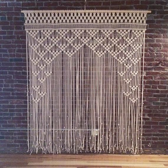 Boho Macrame Wall Hanging-Handmade Art-Woven Wall Hanging-Macrame Wedding Backdrop – Macrame Curtains – Macrame Patterns W 75″ x H 85
