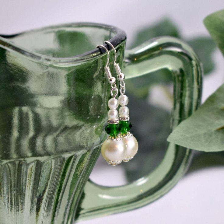 Emerald Green and White Pearl Earrings Brides Bridesmaids Prom by BouquetsByLouise on Etsy