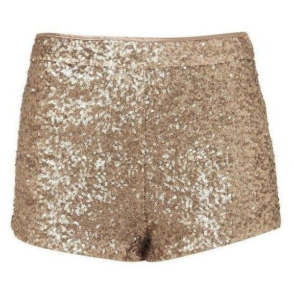 Sequin Shorts ❤ liked on Polyvore featuring shorts, sequined shorts, gold shorts and gold sequin shorts
