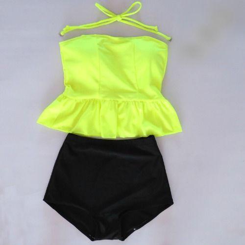 Monokinisuits.com | High Waisted Peplum Tankini Neon Yellow/Black Swimwear