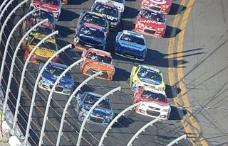 Three-wide at Daytona International Speedway in the 2015 Daytona 500.