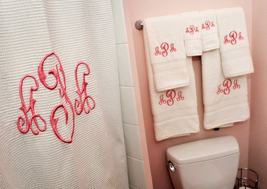 Monogrammed Shower CurtainColleges Shower Curtains, Monograms Towels, Shower Curtains Towels, Monograms Mad, Dreams House, Monograms Shower Curtains, Monograms Bathroom, Monograms Obsession, Monograms Everything