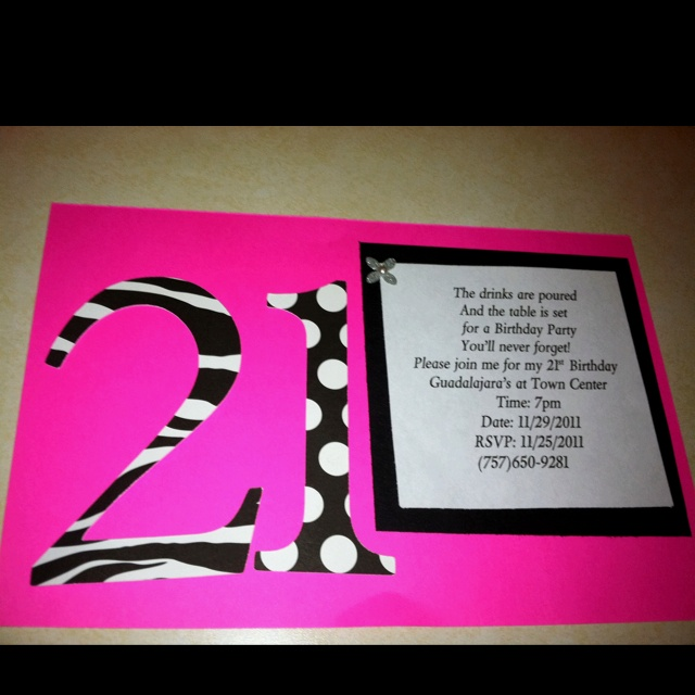 21st Birthday Invite: Scrapbook/DIY Colour theme Font